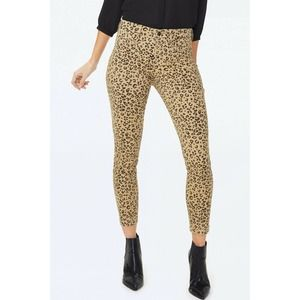NYDJ Women's Ami Leopard Print High Rise Stretchy Skinny Ankle Jeans Size 16